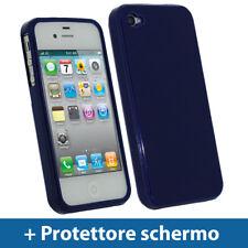 Blu Custodia TPU Gel per Apple iPhone 4 & 4S 4G 16gb 32gb Case Cover Rigida