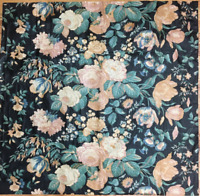 19th Century French Floral Cotton Chintz Printed Fabric