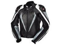 iXS Lederjacke Corbin | Schwarz-Silber-Weiß | Motorradjacke aus Rindsleder