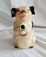 "Erphila Germany Pig Teapot Pitcher Pink Black Vintage 7"""