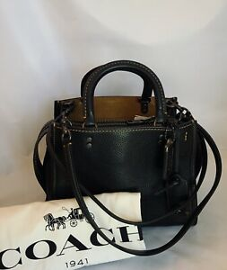 COACH 54536 1941 Rogue Bag 25 Pebble Leather BP/Black Yellow Gold Stitching NWT