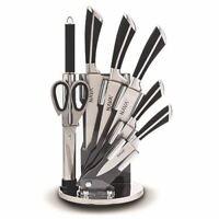 Edelstahl Messer-Set mit Acrylblock Schwarz 8 Tlg.