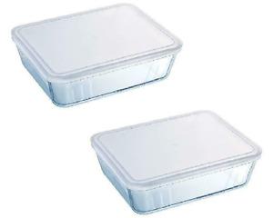 Pyrex Dish with Plastic Lid - Rectangular 1.5L Cook & freeze Container 2pcs set