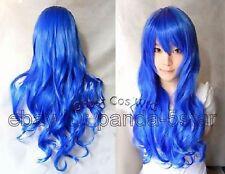 wigs Femmes Bleu long bouclé Mascarade perruque de cheveux de fête
