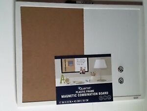 "17x23"" Magnetic Dry Erase White Cork Board Combo Message School Home Wall Memo"
