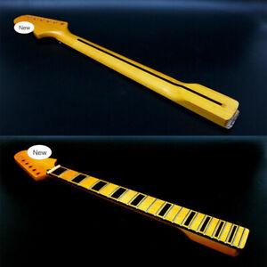 New Guitar Neck 22fret 25.5inch Maple Fretboard Block Inlay Yellow DIY Guitar