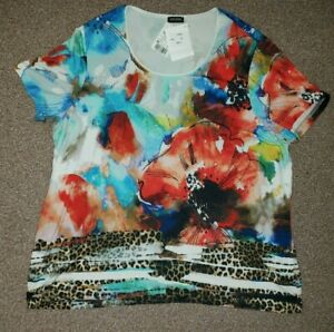 GERRY WEBER EDITION LADIES STRETCH MULTI SHORT SLEEVE TOP SIZE-22 NEW!