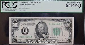 1934 B $50 Mule Federal Reserve Note PCGS 64PPQ Rare