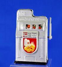 Vintage Metal Slot Machine Mechanical Penny Bank 10 Cent Fortune Jackpot Bank
