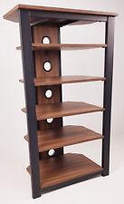 HiFi Stand Walnut or Black Wood Steel Frame 4, 5 or 6 Shelves Gecko Tower Rack