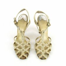 Rare Period Vintage 1920s Braided Lattice Strap Evening Dance Sandal Shoes