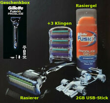 Gillette Fusion Proglide Rasierer + Klingen +Rasiergel+USB Stick Geschenkbox Set