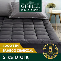 Giselle Bedding Bamboo Charcoal Pillowtop Mattress Topper Protector Cover