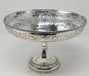 Art Deco / Antique Silver Plate Tall Fruit Bowl Pierced Edge Design WBL Hallmark