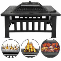"""32"""" Square Metal Firepit Backyard Patio Garden Stove Fire Pit W/Cover Outdoor"""