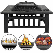 """32"""" Square Fire Pit Outdoor Patio Metal Heater Deck Backyard Fireplace w/Cover"""