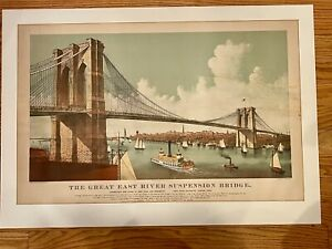 RARE Currier & Ives Brooklyn Bridge Large Folio Lithograph 1886 Great Suspension