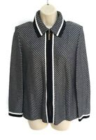 St. John Collection By Marie Gray Womens Size 6 Cardigan Jacket Zip Black White