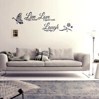 Butterfly Live Laugh Love Quotes Wall Stickers Art Room Decal Home Room Decor JP