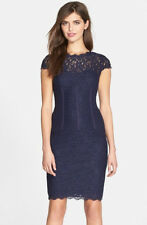 ADRIANNA PAPELL SEAMED DETAIL NAVY SHEATH DRESS sz 14