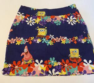 LoudMouth Ladies SpongeBob SquarePants Golf Skort Skirt Size 0 HTF