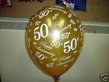 "10 50th Golden Wedding Anniversary Helium Balloons 12"" Decorator Quality"