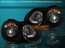 04-07 MERCEDES C230 C240 C280 C320 C32 AMG PROJECTOR HEADLIGHTS BLACK