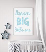 Dream Big Little One Blue Funky Baby Boys Kids Play Room Nursery Wall Art Print
