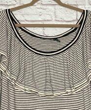2X New Ralph Lauren Cotton Black White Stripes Pullover Sweater Ruffle Knit 99$