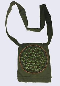 New Cotton Hippie Boho Festival Flower of Life Passport Bag Made in  Nepal