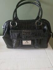 Calvin Klein Ladies Handbag , lovely chrome metalwear Gunmetal , faux alligator