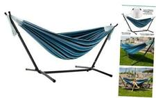 New listing Vivere Double Cotton Hammock with Space Saving Steel Stand, Blue Lagoon Cotton