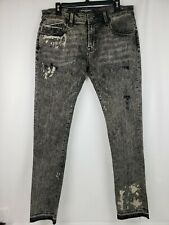 CULT OF INDIVIDUALITY Rocker Slim Stretch Jeans Shitake Black Distress Size 32