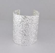 "Silver cuff bracelet floral stamped pattern metal bangle cuff 3"" wide shiny"