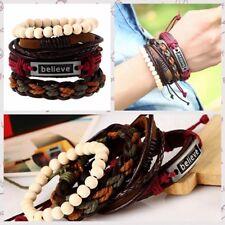 Beaded Ajustable Leather Hemp Rope Weave Bangle Multilayer Cuff Bracelet