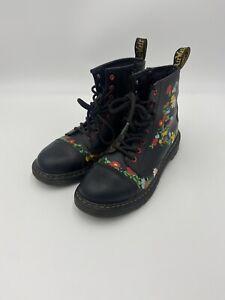 Dr Martens 1460 Pooch Flower Black Leather Floral Boots UK 4 EU 37