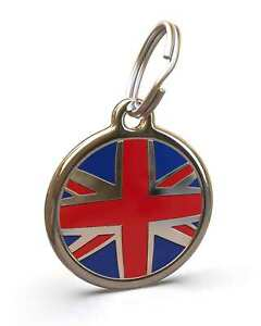 Pet Dog Cat ID Engraved Name Tag Personalized Stainless Steel Union Jack UK Flag