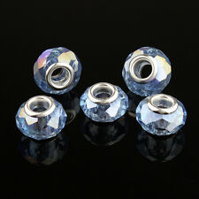 10X Facet Crystal Glass Round Silver Big Hole Beads Fit European Charm Bracelet