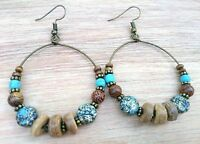 Boho Bohemian Tribal Bronze Hoop Earrings With Turquoise Beads + Gift Pouch