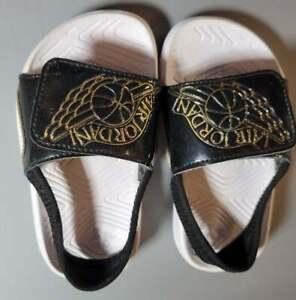 Nike Air Jordan Toddler Hydro 7 Size 7C Black White Beach Outdoor Sandels Shoes