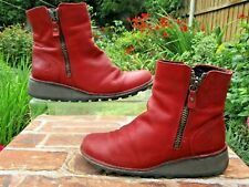 FLY LONDON ZIP UP WEDGE HEEL ANKLE BOOTS SIZE 38 ( 5 ) RED NUBUCK LEATHER