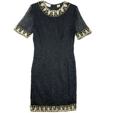 Lawrence Kazar Vintage Silk Dress Womens Small Full Sequin Beaded Embroidered