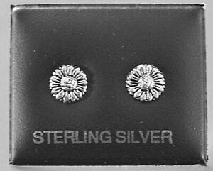 STERLING SILVER 925, STUD EARRINGS SUNFLOWER HEAD BUTTERFLY BACKS STUD 156