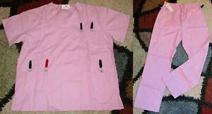 Expo 2 Pc Scrub Set 3 pocket Top & Elastic Drawstring Scrub Pant Sizes L & 1X