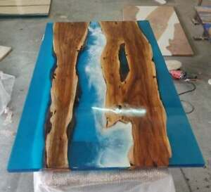 """48"""" x 36"""" Blue Epoxy Resin Office / Dining Sofa / Center Table Top Furniture"""