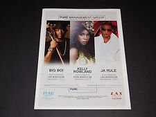Big Boi / Kelly Rowland / Ja Rule 2010 Las Vegas 15x12 Matted Concert Art/Ad