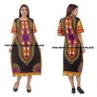 Floral Dashiki Tunic Hippie Boho Maxi Gown Plus Size Women's Caftan Black Dress
