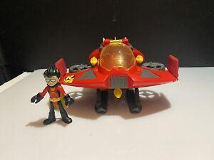 Imaginext Teen Titans Go! ROBIN & JET Plane W/ 3 Missiles Complete Set HTF Rare