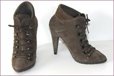 EDEN Bottines à Lacets Pointues Cuir Vert Bronze Hauts Talons T 37 TTBE