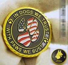 US K9 Police Working Dog we trust paws we bust gold Challenge Coin Collectible